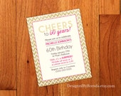 Gold Sparkly Chevron Birthday Invitations - Gold Glitter and Pink can be any colors - 60th Surprise Party Invites - Can be any age