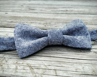 Boys Bow Tie- Blue Chambray Linen- Sizes newborn-adult
