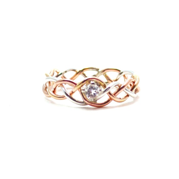 White Topaz Tri Color Braided Ring - Your choice of stone - Amethyst, Golden Topaz, Aquamarine, Garnet, Sapphire, Emerald
