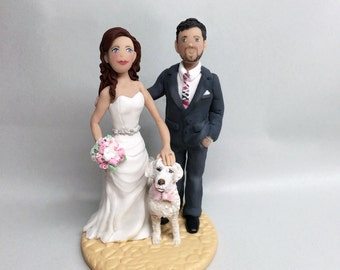 Custom Cake Topper Custom Wedding Bride and Groom with Pet