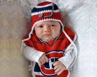 BABY BOYS HOCKEY Navy Blue Red Hockey, Baby Hockey Hat, Hockey Gift, Hockey Baby Boy, Baby Hockey Crochet, Baby Knit Hockey Hat, Hockey Baby