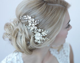 Ivory & Gold Floral Clip, Bridal Hair Accessory, Gold Bridal Hair Clip, Floral Bridal Clip, Gold Hair Comb, Gold Headpiece ~TC-2274-G
