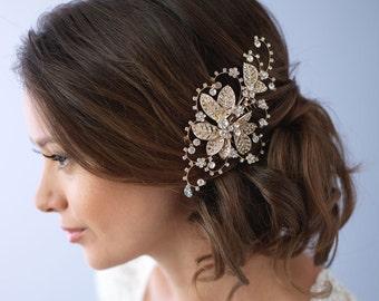 Floral Gold Bridal Comb, Bridal Hair Accessory, Gold Bridal Hair Comb, Floral Hair Comb, Gold Wedding Comb, Rhinestone Comb ~TC-2281-G