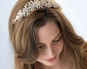 Crystal Bridal Tiara, Pearl Wedding Crown, Rhinestone Wedding Tiara, Bridal Hair Accessory, Vintage Bridal Crown, Bridal Headpiece ~TI-3236
