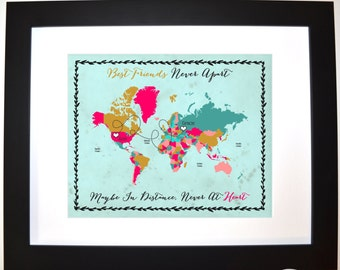 True friendship print birthday valentine gift best friends close at heart long distance custom any world map moving away travel present