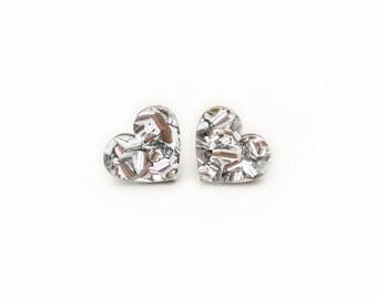 Silver Heart Glitter Studs
