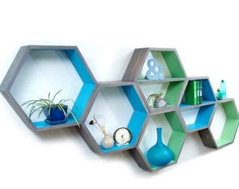 Geometric Wood Shelves - Mid Century Modern - Honeycomb Shelf - Hexagon Book Shelf - MCM - Floating Shelf - Modern Shelving - 3 XL Shelves