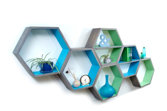Modern Shelves geometric wood shelves mid century modern honeycomb shelf