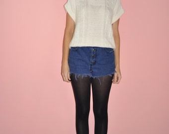 Vintage 80s 90s Cream Ivory Triangle Knit Minimalist Geometric Sweater Vest