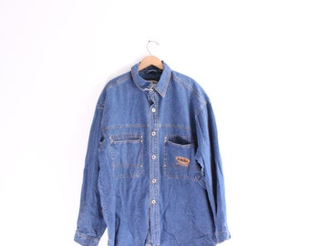 Baggy Denim Button Down Work Shirt