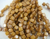 CzechMates Tile Bead - Brown Picasso (1116) - 2 hole Czech Glass Tile Beads - 6mm - Qty. 25