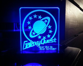 Galaxy Quest Acrylic LED light sign, led display sign, led lite sign, led night light, LED sign, LED lamp