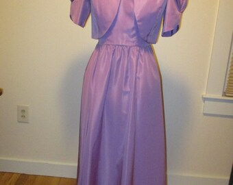 1970s Lavender Purple Dress with Matching Bolero Jacket
