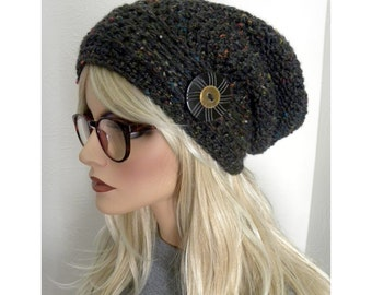 Black Tweed Slouchy Beanie, Women's Slouchy Hat, Bohemian Fashion, Hippie Hat, Hat With Button, Teen Hat, Women's hats, Gift for her