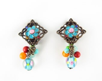 Vintage Venetian Wedding Cake Glass Bead and Colorful Rhinestone and Enamel Earrings Pewter