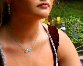 Heart on Nashville TN Custom State Necklace Silver Personalized