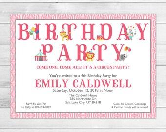 Circus Birthday Party Invitation, Printable Digital Invite File, Carnival, Pink, Girl