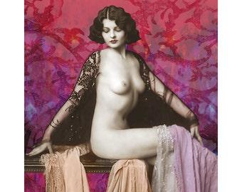 Nude vintage burlesque, digital print, 1920 s vintage art, photomontage, vintage digital art, fine art, modern art, 1920 s nude, home decor
