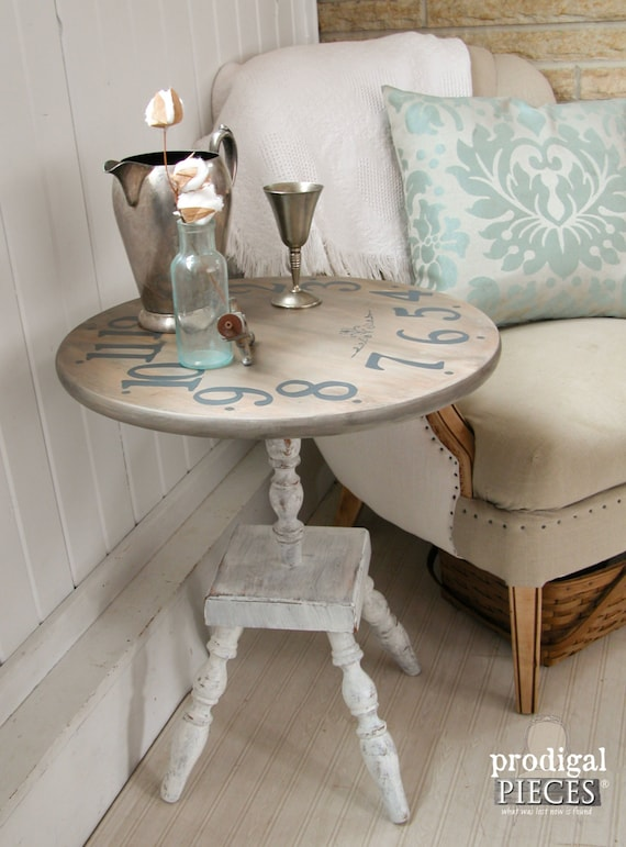 Vintage Distressed Clock Face Side End Table Shabby Cottage