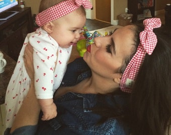 Mom & me matching headband gingham check red-mom and Daughter head wraps red-doll mom and baby pair headscarf-new mom headbands-Love Factory