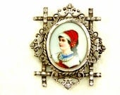 Victorian Portrait Antique Brooch Girl with Red Hat, Porcelain Pin, Silver Tone