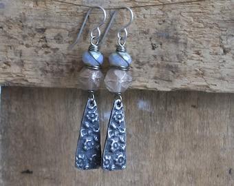 Long, Bohemian Earrings with Artisan Pewter Charms. Hand Cast Pewter Earrings. Art Bead Earrings. Rustic, Lilac Grey Floral Earrings.