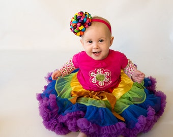 Rainbow Headband, Rainbow Birthday Headband, Birthday Headband, Rainbow Hair Bow, First Birthday Bow, First Birthday, Loopy Bow Headband