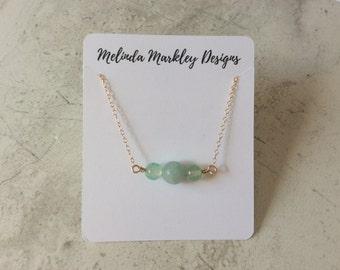 Seafoam Green Beaded Necklace | Gold | Amazonite