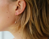 Elegant 14k Solid Rose Bar Earrings w/ sterling silver & gold filled beading / delicate and dainty