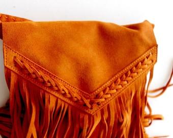 Boho fringe bag in orange , Leather fringe bag , suede fringe bag