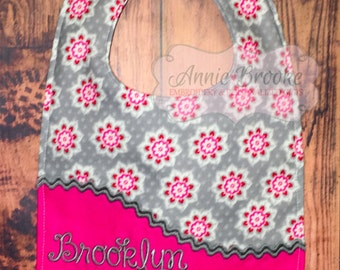 Personalized Bib, - Grey and Pink Floral Bib, - Monogrammed Baby Bib, - Reversible Embroidered Baby Bib, - Baby Shower Gift
