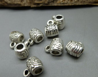 20 Antique Tibetan Silver Beads Bails Hangers - Jewelry Making Supplies  - PB24