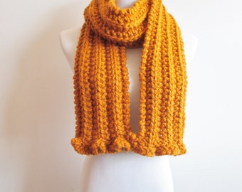 Butterscotch Knit Scarf with Ruffle - Knitted Mustard Scarf - Chunky Dark Marigold Ribbed Scarf ~ Hand Knit Thick Warm Scarf