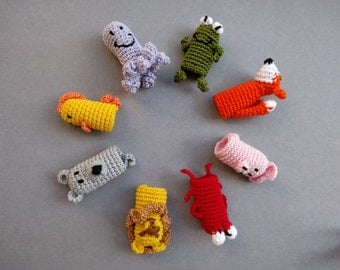 Amigurumi Free Pattern Hippo : Items similar to Little Red Riding Hood, Crochet finger ...