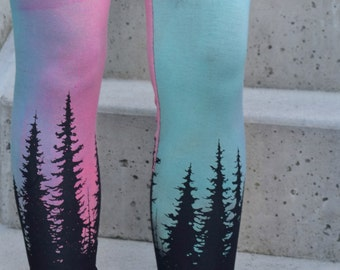 Aurora Borealis Print, High Waisted Leggings, Hand Painted Tights, Tree Print, Tree Silhouette, Burning Man, Festival Wear, Bamboo Jersey