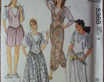 Misses' Jumpsuit Jumper Pattern ~ Size 8 ~ Easy McCall's 5368 Fashion Basics ~ Uncut