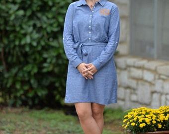 Monogrammed Chambray Shirt Dress