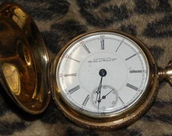 pocket watch Waltham 15J Appleton TRACY MAY gold plate mfg 1891