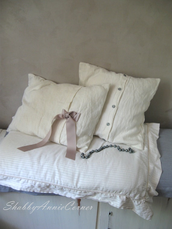 Shabby Chic Linen Pillows : Shabby Chic pillow covers White Pillow covers White throw