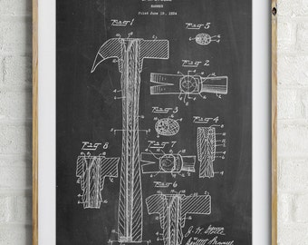 Claw Hammer Patent Poster, Tool Art, Unique Gifts for Dad, Garage Decor, Tool Poster, PP0275