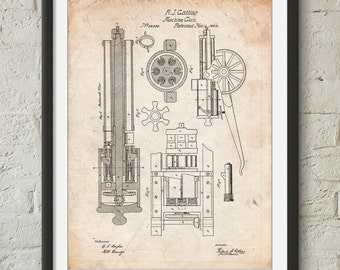 Gatling Gun Patent Poster, Machine Gun, Gun Lover, Civil War Era, Gun Art, PP0023