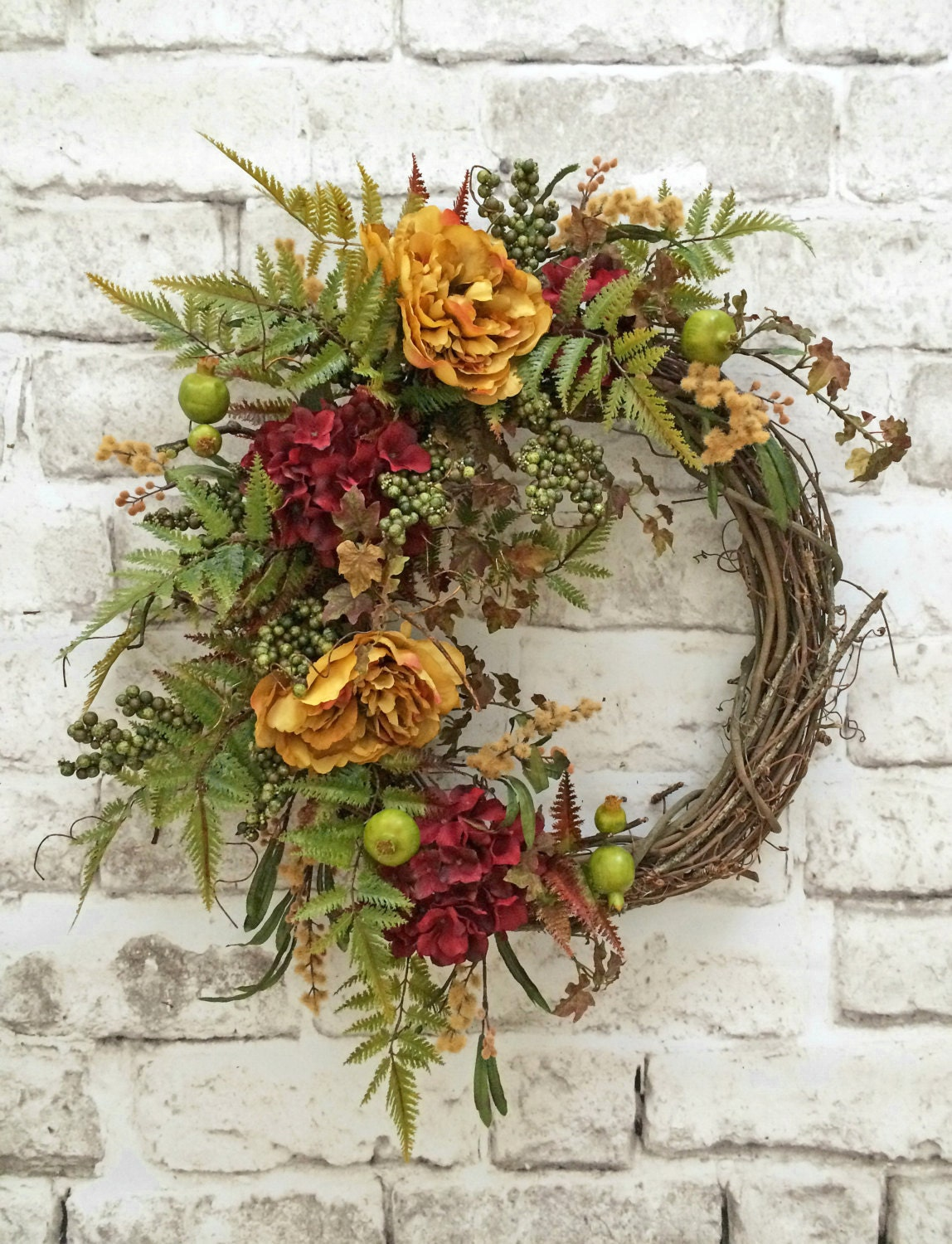 Front door wreath silk floral wreath by adorabellawreaths Fall autumn door wreaths