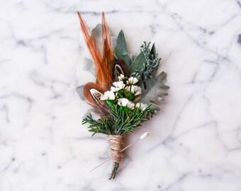 Wedding boutonniere, Lapel pin, Groom buttonhole, Groomsmen corsage, Sage green, Eucalyptus, Pheasant - PHOENIX