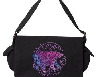 Bohemian Woods - Bear Embroidered Canvas Cotton Messenger Bag