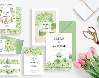 Printable wedding stationery kit: wedding invitation + rsvp, save the date, diner invitation, thank you card - Hydrangeas - Boho, Watercolor