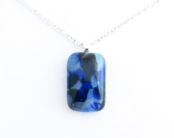 Recycled wine bottle pendant in blue, brown, and frosted glass/Kiln-fused necklace handmade from upcycled wine bottle glass