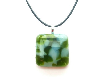 Recycled wine bottle pendant/green and white recycled glass necklace/Eco friendly fused glass necklace/Repurposed glass pendant
