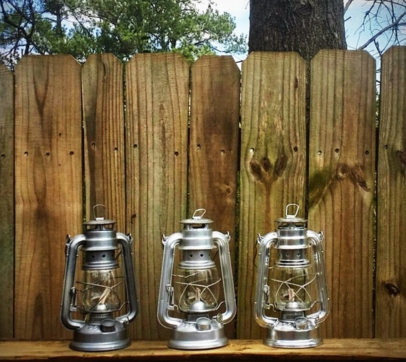 Silver railroad lantern rustic home decor metal by