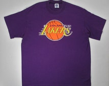 Vintage 80s LA Lakers T Shirt Los Angeles soft thin tee L NBA basketball team purple yellow Logo 7 magic johnson 90s