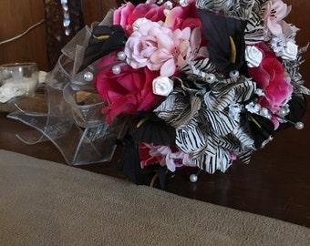 Zebra, Pink Brides Bouquet